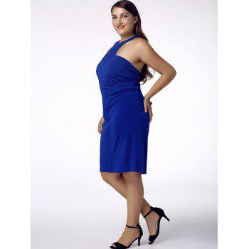 Stylish Women's Plus Size Racerfront Backless Sheath Dress - BLUE 4XL