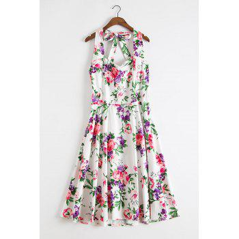 Endearing Halter Sleeveless Floral Printed High Waist Ball Gown Dress For Women