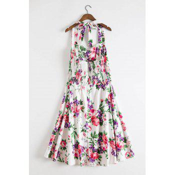 Endearing Halter Sleeveless Floral Printed High Waist Ball Gown Dress For Women - PURPLE PURPLE