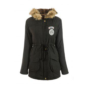 Preppy Style Faux Fur Hooded Drawstring Design Embroidered Fleece Coat For Women