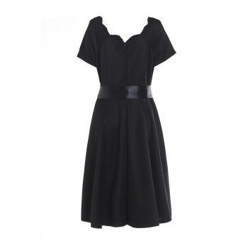 Vintage Style Short Sleeve Scoop Neck Women's Red Ball Gown Dress - BLACK S