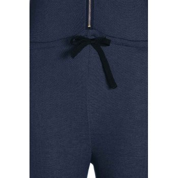 Attractive Hooded Zippered Solid Color Waist Drawstring Denim Jumpsuit For Women - BLUE M
