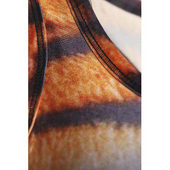 Stylish U Neck Tiger Printed Tank Top For Women - BROWN L