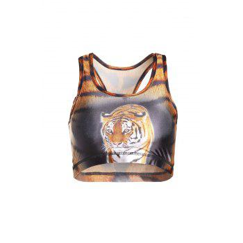 Stylish U Neck Tiger Printed Tank Top For Women