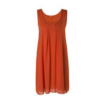 Casual Round Neck Sleeveless Solid Color Women's Sundress