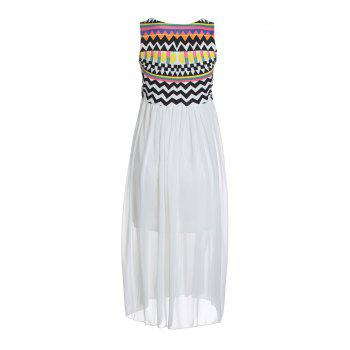 Special Print Bohemian Style Chiffon Ruffled Scoop Neck Sleeveless Women's Maxi Dress - ONE SIZE ONE SIZE