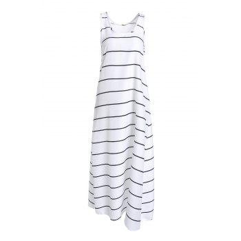 Casual Striped U-Neck Sleeveless Maxi Tank Top Dress For Women