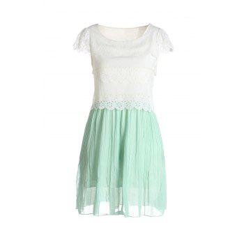 Women's Princess Style Beam Waist Layered Ruffles Hem Sleeveless Pleated Dresses - LIGHT GREEN ONE SIZE