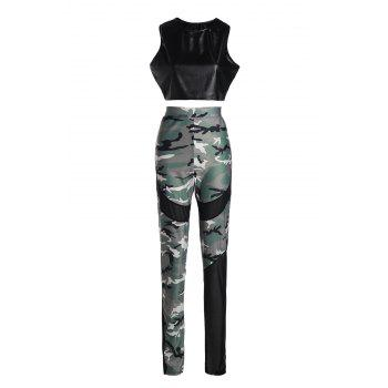 Attractive Black PU Leather Bodycon Crop Top+Camouflage Print Pants Twinset For Women