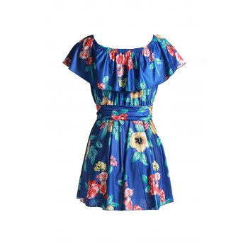 Endearing Floral Printed Off-The-Shoulder Flounce Mini Dress For Women - SAPPHIRE BLUE SAPPHIRE BLUE