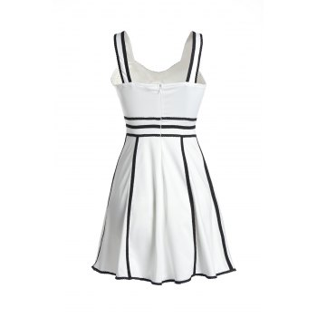 Cute Women's Spaghetti Strap Lace Patch Design Slimming Dress - WHITE WHITE