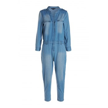 Stylish V Neck Long Sleeve Blue Denim Women's Jumpsuit