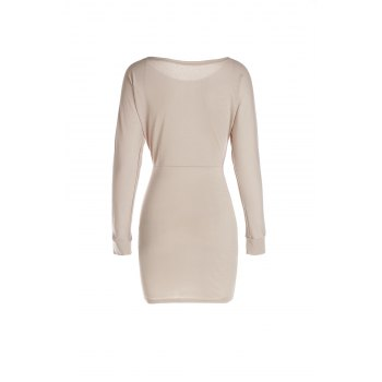 Sexy Long Sleeve Skew Neck Solid Color Slimming Women's Dress - LIGHT KHAKI S