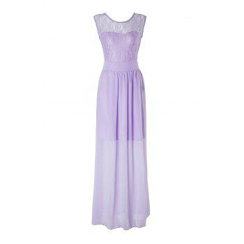 Graceful Candy Color Hollow Out Lace Spliced Pleated Prom Dress For Women