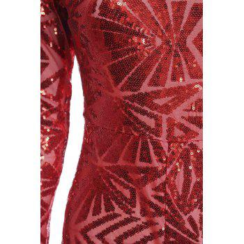 Long Sleeve Glitter Sequins Romper - RED M