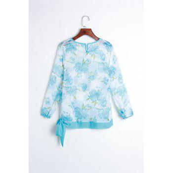Women's Floral Print Pattern Chiffon Casual Puff Long Sleeve Tops Blouses Shirt - SKY BLUE ONE SIZE