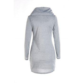 Stylish Hooded Long Sleeve Bodycon Solid Color Women's Dress - GRAY L