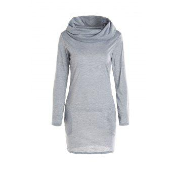 Stylish Hooded Long Sleeve Bodycon Solid Color Women's Dress