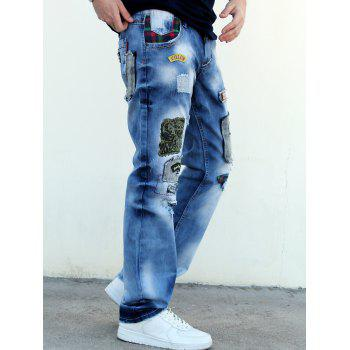 Zip Fly Patch Design Distressed Straight Denim Pants - BLUE 30
