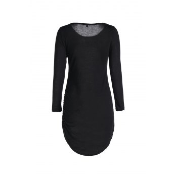 Stylish Women's Slash Neck 3/4 Sleeve Bodycon Dress - BLACK S