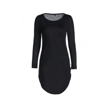 Stylish Women's Slash Neck 3/4 Sleeve Bodycon Dress - BLACK BLACK