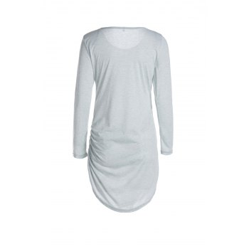 Mini Robe T-shirt Moulante à Manches 3/4 - Gris M