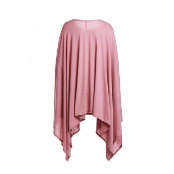 Handkerchief Plus Size Caped Top with Batwing Sleeve - DARK APRICOT M