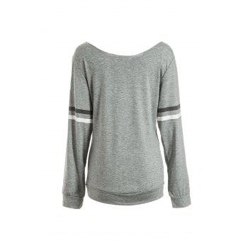 Stylish Scoop Neck Long Sleeve Pocket Design Letter Print Women's Sweatshirt - GRAY L