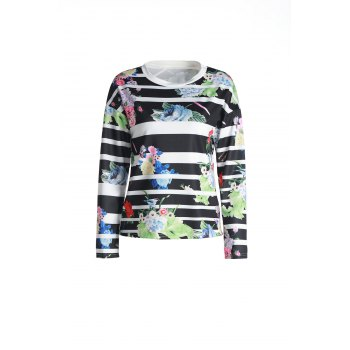 Attractive Striped Colorful Printed Long Sleeve T-Shirt For Women - BLACK BLACK