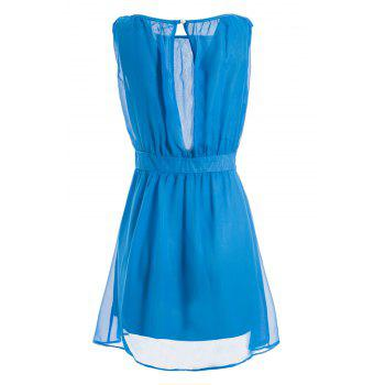 Ladylike Style Chiffon Cut Out Sleeveless Round Neck See-Through Women's Dress - BLUE S