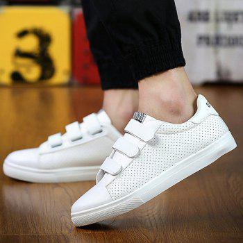 Trendy Breathable and PU Leather Design Men's Casual Shoes - WHITE 42
