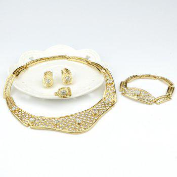 A Suit of Trendy Rhinestone Hollow Out Necklace Bracelet Ring Earrings - GOLDEN