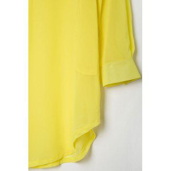 Stylish Turn-Down Collar Solid Color Loose-Fitting Long Sleeve Women's Dress - YELLOW M