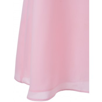 Sweet Cut-Out Round Collar Sleeveless Dress For Woman - PINK M