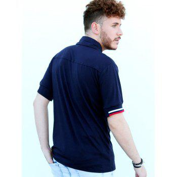 Modish Turn-Down Collar Color Block Rib Splicing Short Sleeve Men's Polo Shirt - CADETBLUE 2XL