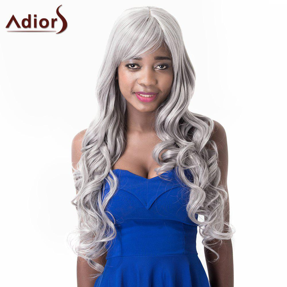 Stylish Inclined Bang High Temperature Fiber Adiors Women's Wig - GRAY
