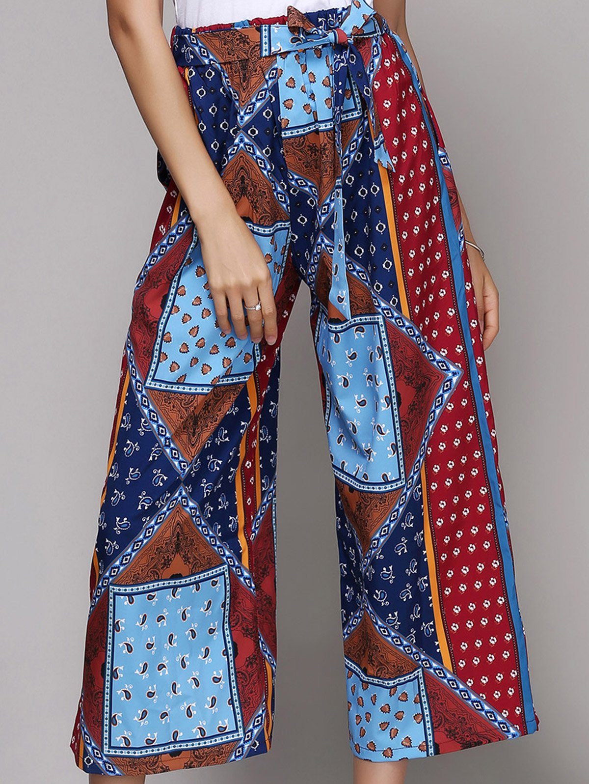 Stylish Belted Ethnic Print Palazzo Pants For Women - COLORMIX L