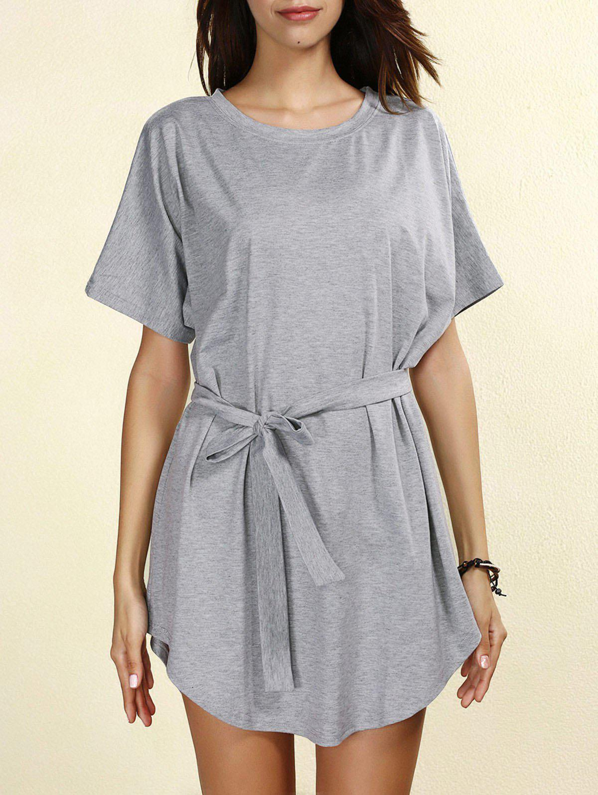 Casual Self-Tie Short Sleeve Round Neck Women's Dress - GRAY L