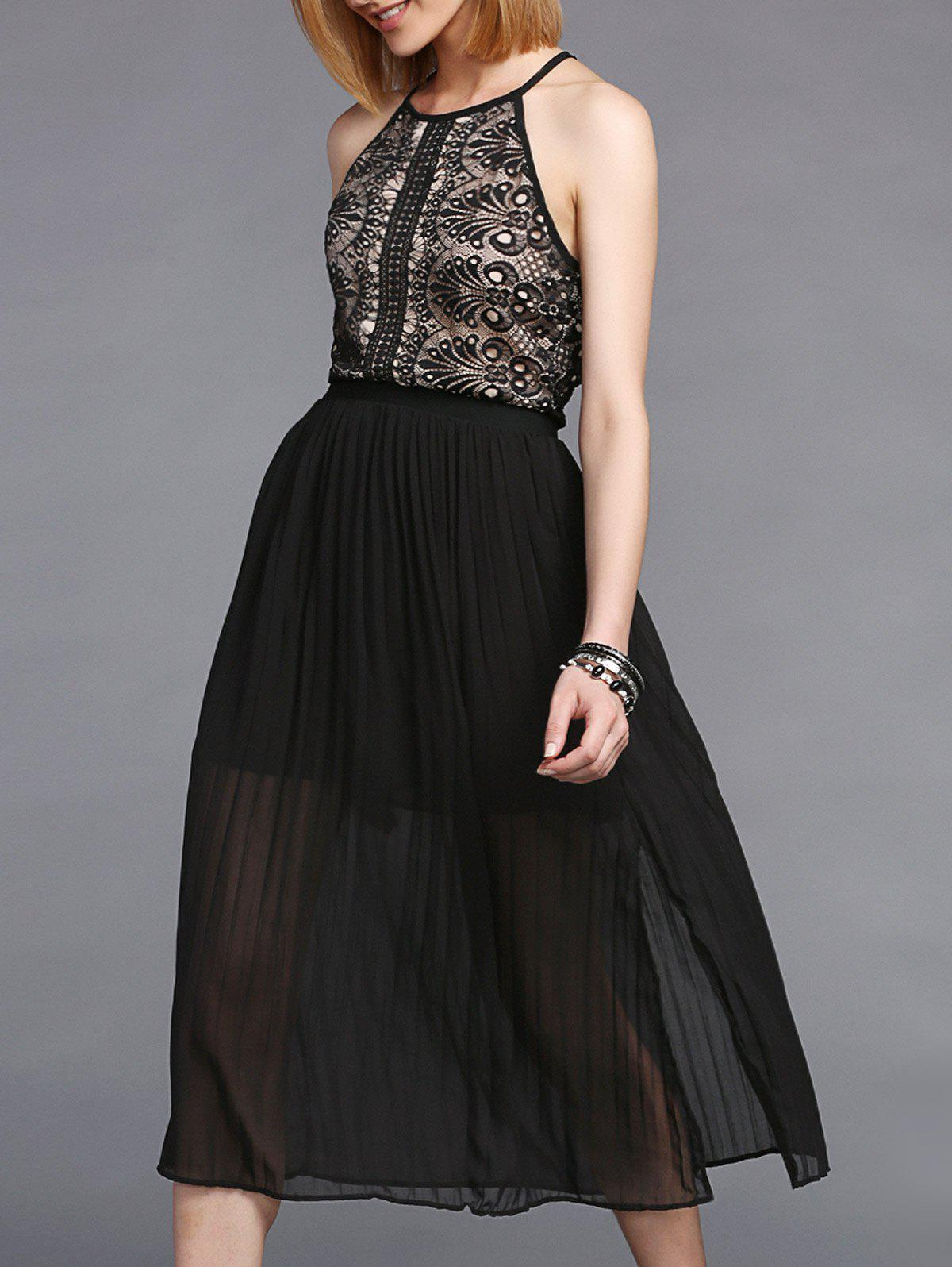 Trendy Sleeveless Furcal Pleated Lace Spliced Women's Dress - BLACK ONE SIZE(FIT SIZE XS TO M)