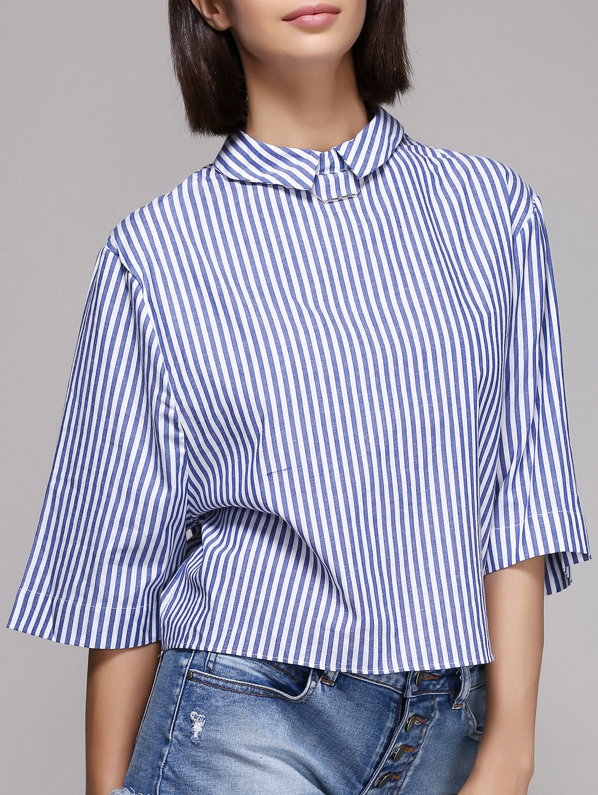 Stylish Pinstriped Flat Collar 3/4 Sleeve Blouse For Women - STRIPE L