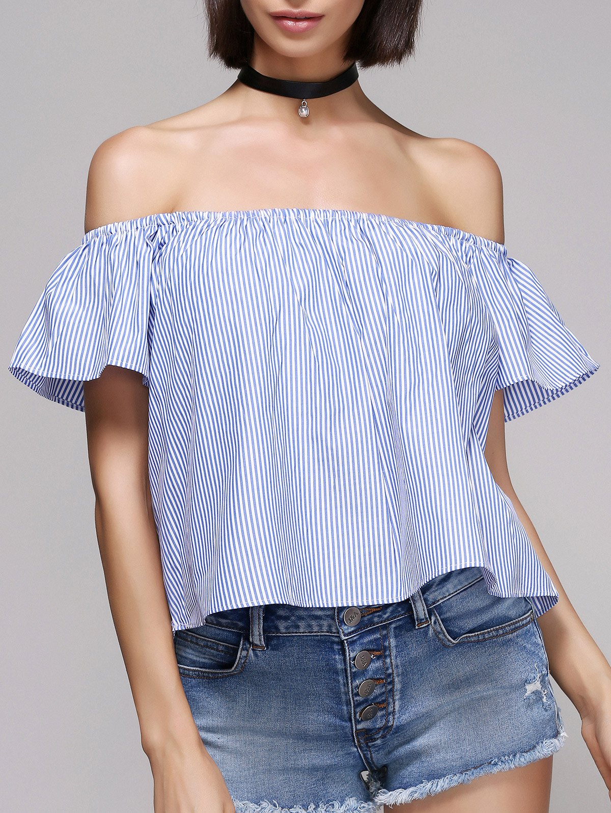 Stylish Pinstriped Off The Shoulder Blouse For Women - BLUE/WHITE L