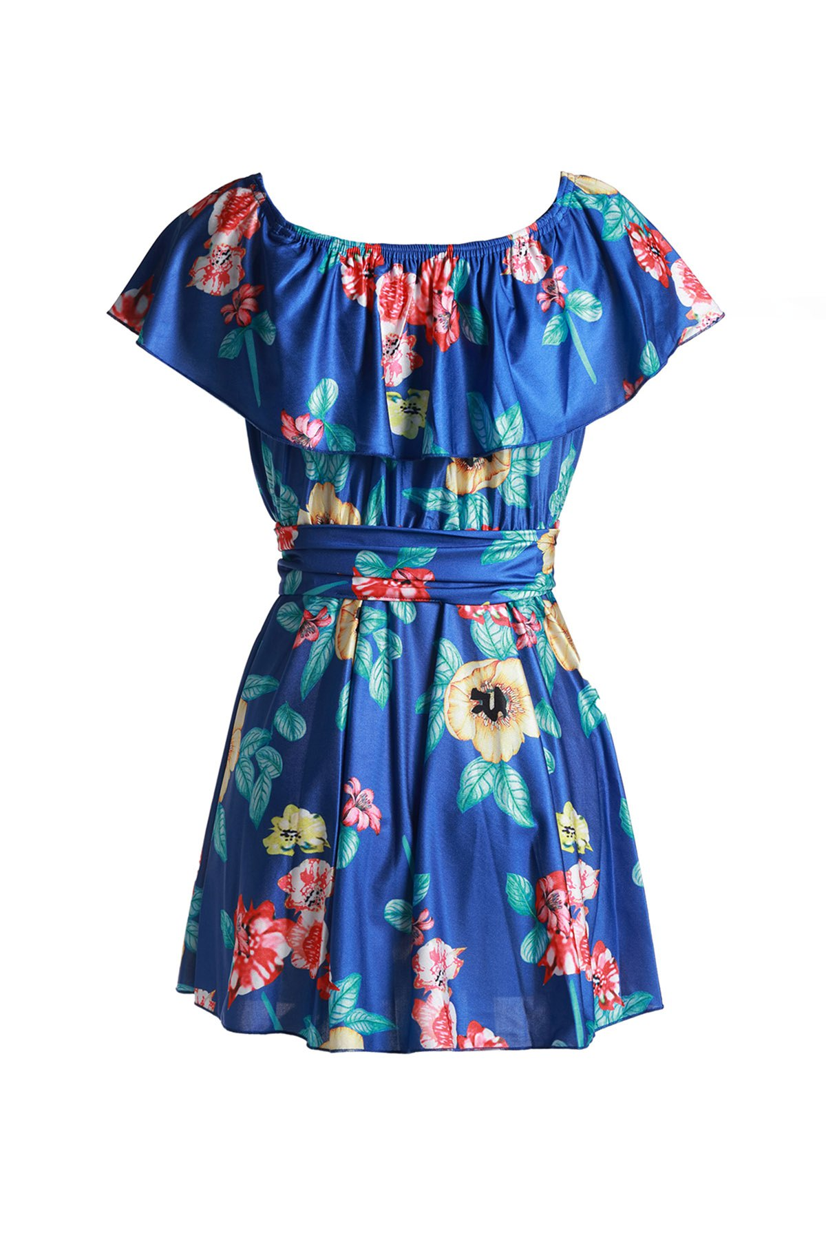 Endearing Floral Printed Off-The-Shoulder Flounce Mini Dress For Women - SAPPHIRE BLUE XL