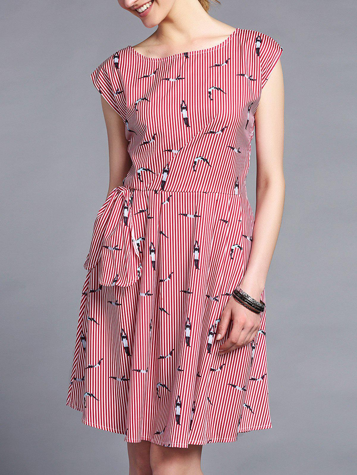 Trendy Round Collar Printed Slimming Stripe Women's Dress - STRIPE L