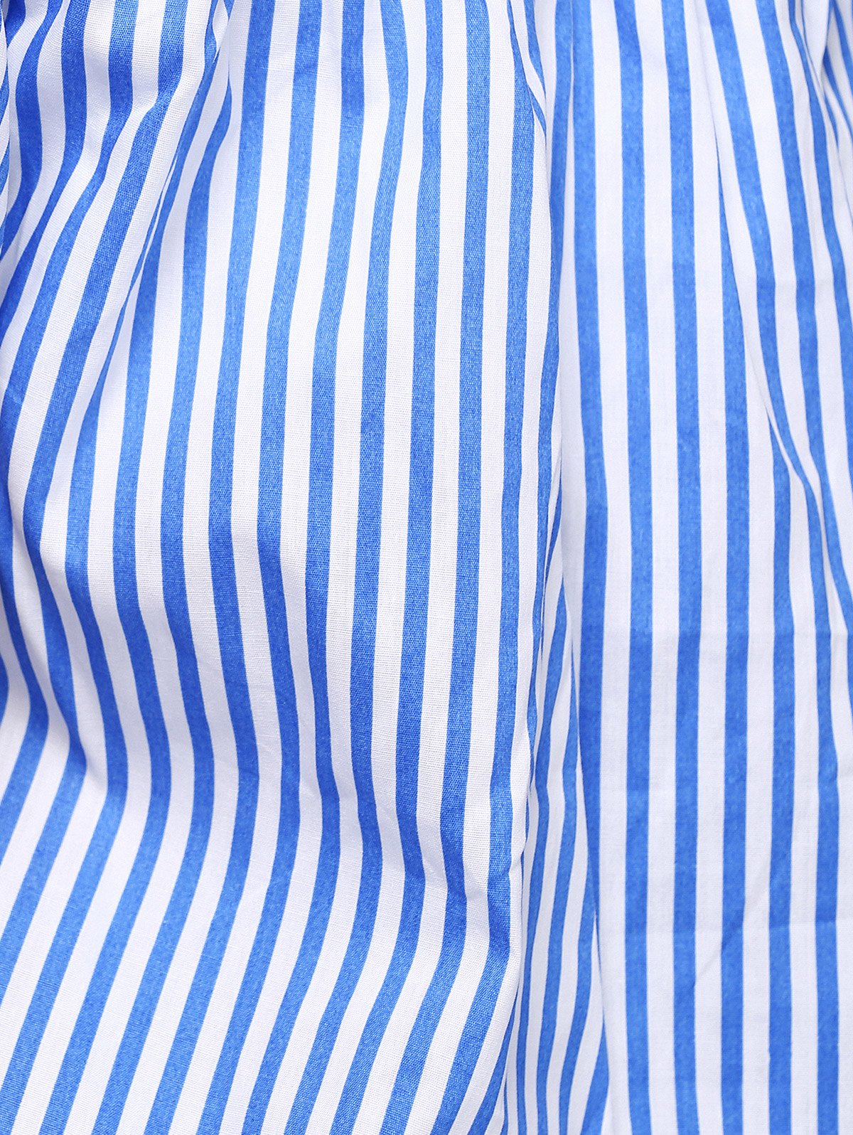Stylish Off The Shoulder Pinstriped Blouse For Women - BLUE/WHITE L