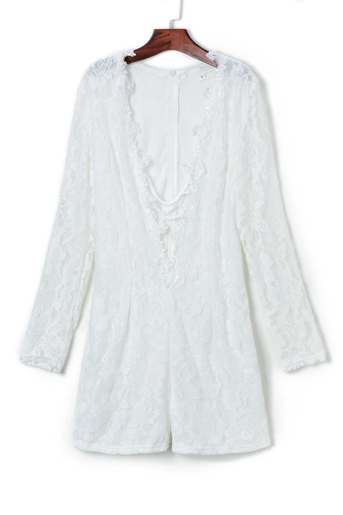 Sexy Long Sleeve Plunging Neck Solid Color Lace Women's Romper - WHITE S