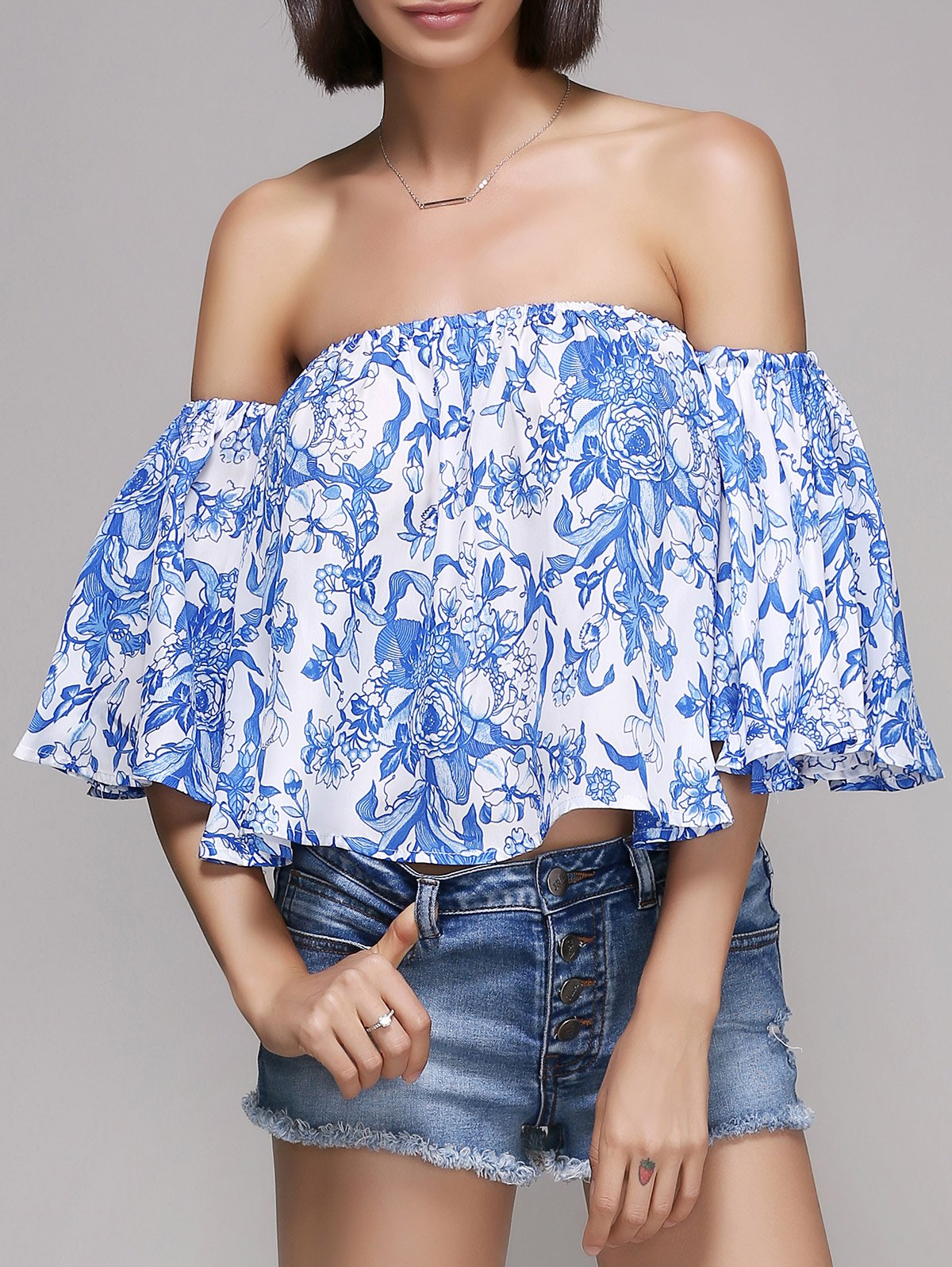 Stylish Off The Shoulder Ruffle Print Blouse For Women - BLUE/WHITE L