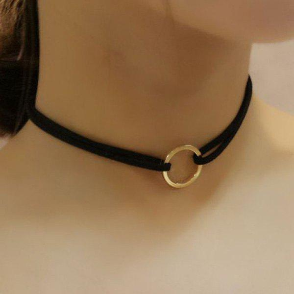 Velvet Band Circle Choker - BLACK