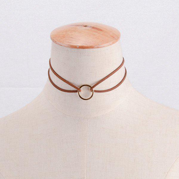 Simple Faux Leather Openwork Band Round Geometric Necklace For Women