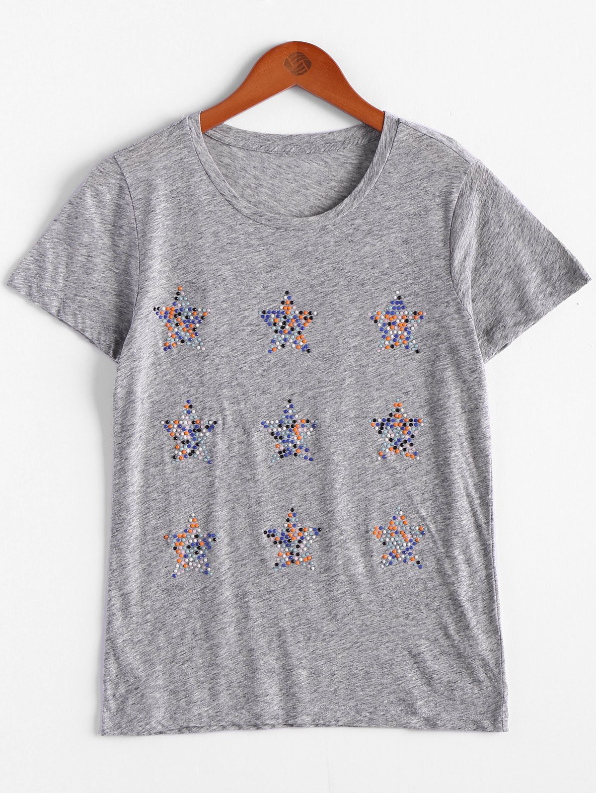 Beaded Embellished Women's Tee - XL GRAY