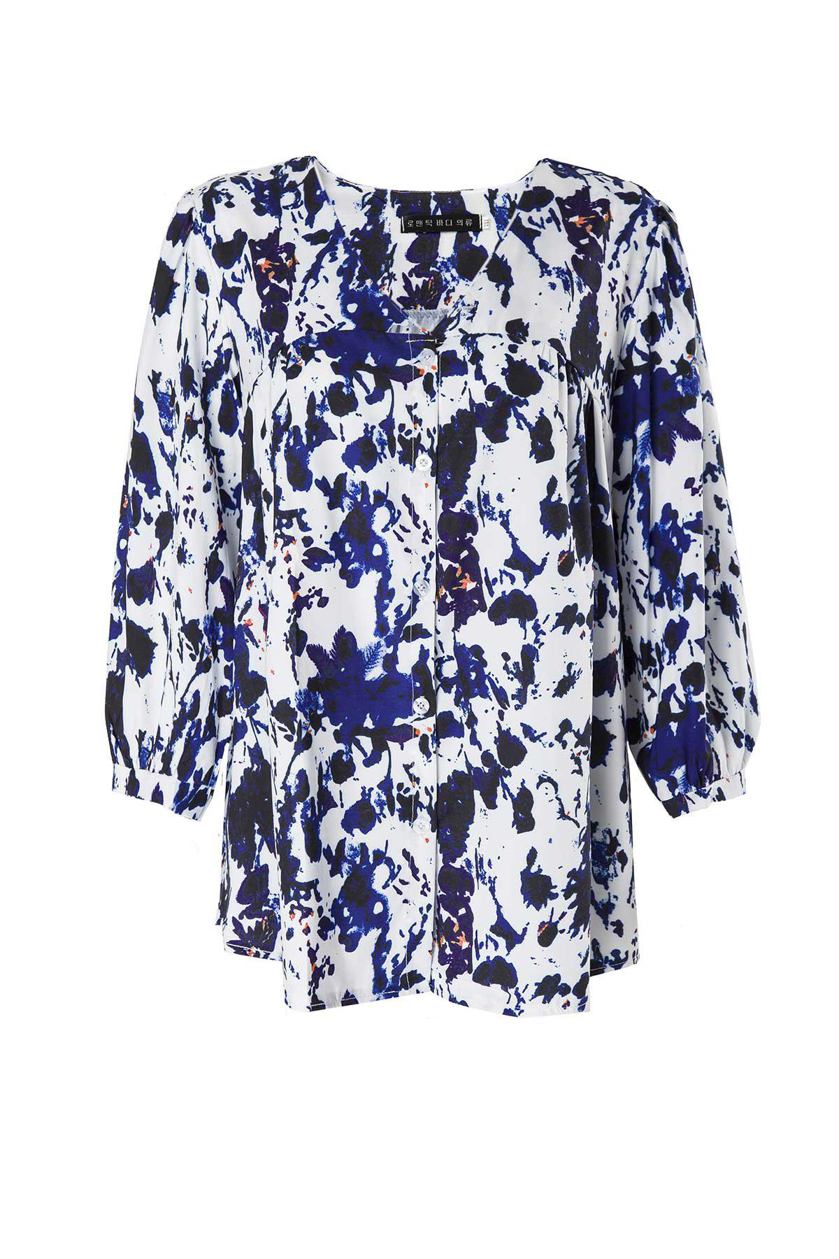 Casual V-Neck 3/4 Sleeve Plus Size Printed Women's Blouse